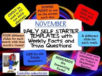 SELF STARTER TEMPLATES {TRIVIA FACTS/TRIVIA QUESTIONS} {November}