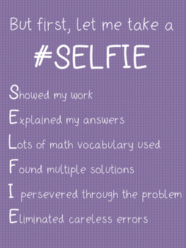 SELFIE Anchor Chart (Acronym for Checking Work in Math)