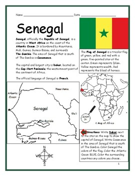 SENEGAL - Printable handout with map and flag