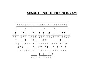 SENSE OF SIGHT CRYPTOGRAM