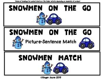 SENTENCE BUILDER: Snowmen on the Go (PreK-2/SPED)