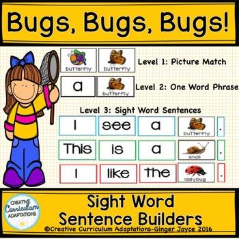 SIGHT WORD SENTENCE BUILDERS-BUGS (K-2/SPED/ELL)