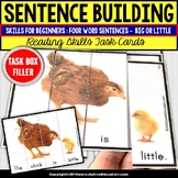 """SENTENCE BUILDING with Pictures Task Cards READING Big/Little """"Task Box Filler"""""""