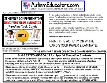 "SENTENCE COMPREHENSION Identify VISUAL ABSURDITIES Task Cards ""Task Box Filler"""