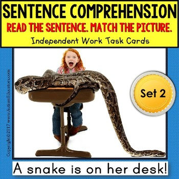 SENTENCE COMPREHENSION Reading Task Cards for Autism and S