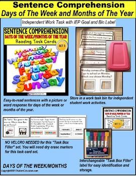 SENTENCE COMPREHENSION Task Cards DAYS OF WEEK and MONTHS Task Box Filler 5