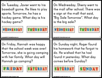 "SENTENCE COMPREHENSION Task Cards DAYS OF WEEK and MONTHS ""Task Box Filler"""