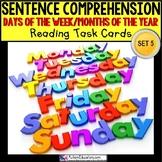 """SENTENCE COMPREHENSION Task Cards DAYS OF WEEK and MONTHS """"Task Box Filler"""""""