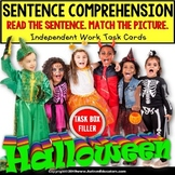 """SENTENCE COMPREHENSION Which Halloween Costume Task Cards """"Task Box Filler"""""""