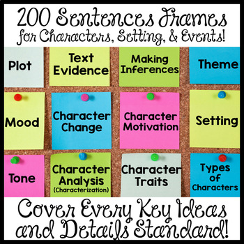 Sentence Frames for Key Ideas and Details Common Core Aligned