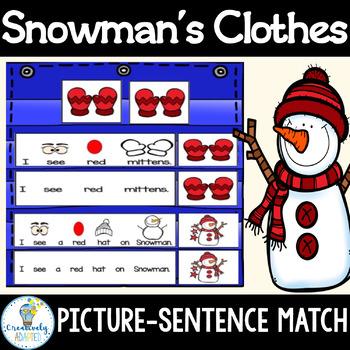 SENTENCE MATCH-Snowmans Winter Clothes (Autism/Special Ed/ELL)