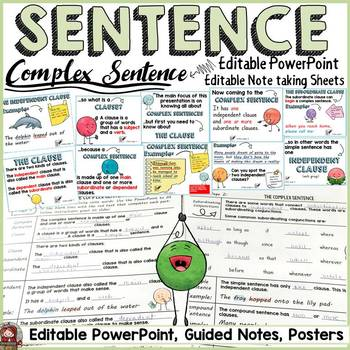 SENTENCE STRUCTURE: COMPLEX SENTENCE: EDITABLE POWERPOINT: EDITABLE GUIDED NOTES