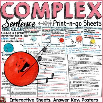 SENTENCE STRUCTURE: COMPLEX SENTENCE: PRINT-N-GO SHEETS