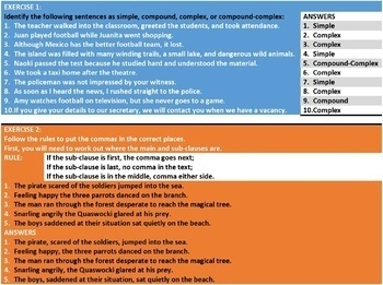 SENTENCE STRUCTURE WORKSHEETS WITH ANSWERS