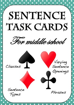 SENTENCE WRITING TASK CARDS - Clauses, Openings, Phrases, Sentence Types