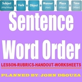 SENTENCE WORD ORDER LESSON AND RESOURCES