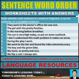 SENTENCE WORD ORDER WORKSHEETS WITH ANSWERS