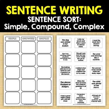 SENTENCE WRITING: Simple, Compound, Complex - Sentence Sort