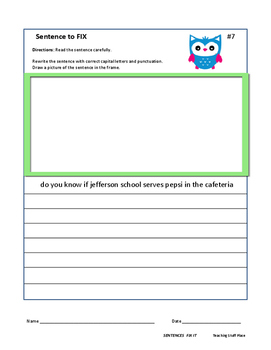 Proofreading | SENTENCES to FIX | RULES | PROOF READ | Draw + Write | Gr 3-4-5