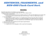 SENTENCES, FRAGMENTS, and RUN-ONS Flash Card Sort. 7th grade grammar