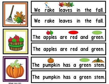SENTENCE BUILDERS-Fall, Pumpkins, Scarecrow, Leaves  (K-2/Autism/Special Ed)