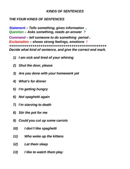SENTENCES PACK - LESSONS/PRACTICE QUIZ/TEST/CUE CARDS