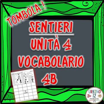 SENTIERI Unità 4 Vocabolario 4B Facciamo Spese  BINGO GAME