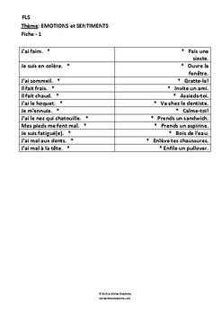 SENTIMENTS - ACTIVITE - FICHES FLE/FLS