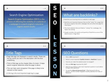 Search Engine Optimization SEO Lesson