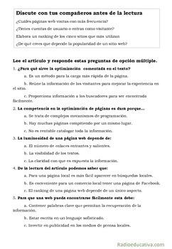 SEOs: Los artesanos que tejen la web. Spanish reading comprehension and writing
