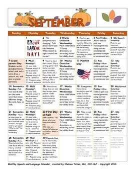 SEPTEMBER 2014 Speech/Language Calendar
