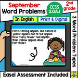 SEPTEMBER 2nd grade Math Word Problems IN ENGLISH Digital