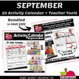SEPTEMBER ACTIVITY CALENDAR AND EDITABLE TEACHER BUNDLE