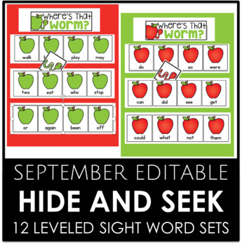 SEPTEMBER EDITABLE - Hide and Seek 12 Different Sight Word Sets
