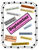SEPTEMBER HOLIDAYS - Every Day Should Be A Holiday Calendar! Learning Fun!