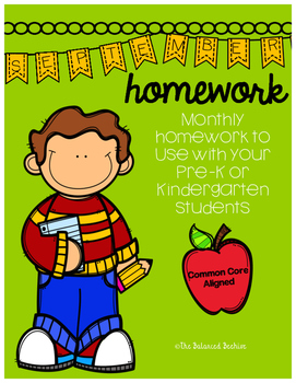 PreK/K Homework, September, Monday thru Thursday