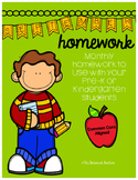 PreK/K Homework, September, Monday thru Thursday