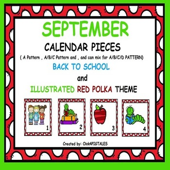 September Illustrated Calendar Numbers