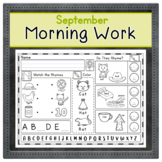 SEPTEMBER Kindergarten Morning Work  | Phonics Writing Math
