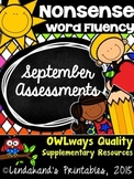 Back to School Nonsense Word Fluency SEPTEMBER RTI Assessment Pack
