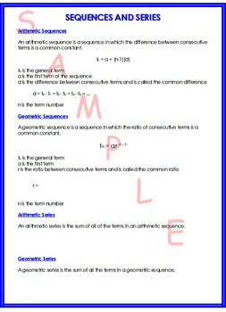 SEQUENCE AND SERIES SUMMARY SHEET