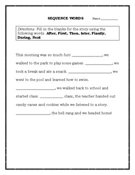 SEQUENCE WORDS WORKSHEET