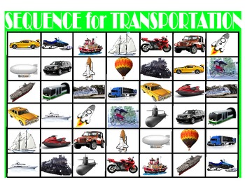 SPEECH THERAPY SEQUENCE for TRANSPORTATION GAME