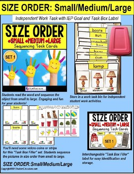 "SEQUENCING SIZE ORDER Task Cards ""Task Box Filler"" for Autism"