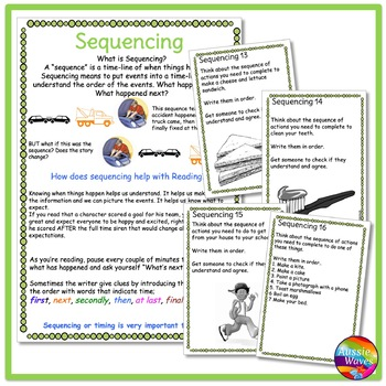 READING Task Cards for SEQUENCING COMPREHENSION SKILLS