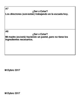 Spanish SER o ESTAR Activity-Walk Around