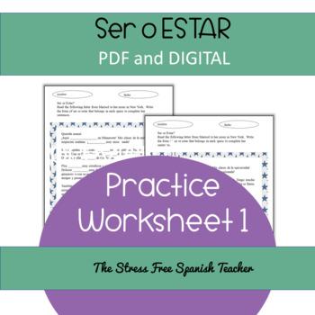Ser Or Estar Practice Pdf And Digital Resource Included Tpt