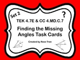 4.7E & 4.MD.C.7 Finding the Missing Angles Task Cards SET 2