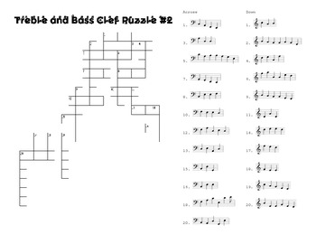 SET #2: note identification crosswords and a music symbol