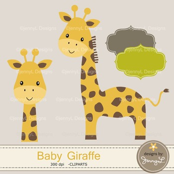 Baby Giraffe Digital Papers and Giraffe Cliparts